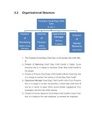 Sample Preschool Organizational Chart Small Step Child Care Business Plan