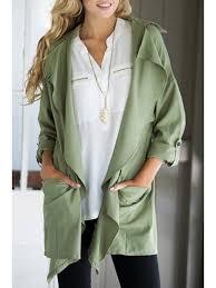 unique lapel big pocket green trench coat army green xl