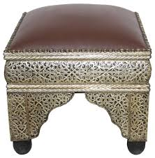 moroccan metal and bone leather ottoman mediterranean footstools and ottomans by badia design inc