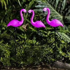 bright garden 3 pack flamingo solar