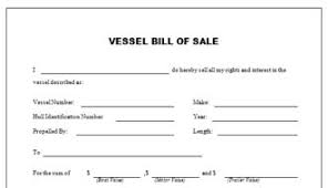 watercraft bill of sale vessel bill of sale