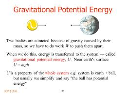 21 gravitational potential energy two bos are attracted because of gravity caused by their mass