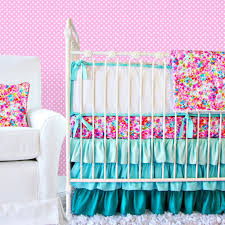 teal baby bedding set ideas featuring pink polkadots wall