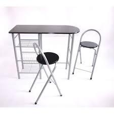 Ensemble de bar table haute + 2 chaises de bar, métal/MDF, noir ...