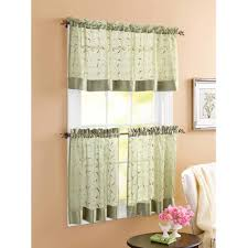 better homes and gardens sage linen leaf 3 piece kitchen curtains curtain panels and valances included com