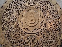 circle carved wooden wall art buddhist