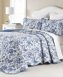 CLOSEOUT! Martha Stewart Collection Delft Meadow Reversible ... & Martha Stewart Collection Delft Meadow Reversible Bedspreads, Created for  Macy's Adamdwight.com