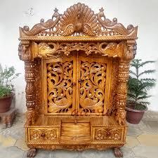 Wooden Temple Designs Pictures Peacock Design Door Temple In Teak Wood Tktemp 0012