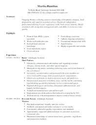 Sample Resume For Restaurant Server