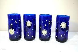 libbey cobalt blue glasses cobalt glasses glassware cobalt blue glassware new 4 celestial sun moon and