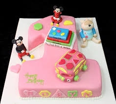 First Birthday Cake With Toys Mickey And Minnie Mouse