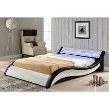 Sienna Bedroom Furniture Sienna White Led Faux Leather Bed Frame 4ft6 Double 5ft King