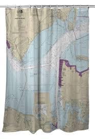 Va Hampton Roads Newport News Va Nautical Chart Shower Curtain
