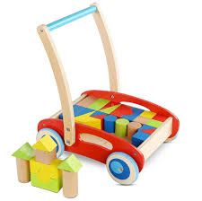 for wooden baby learning walker toddler toys for 1 year old blocks and roll cart push and pull toy 33pcs at whole on crov com