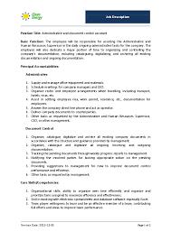 Job Profile Of Document Controller Pdf Admin Document Control Assistant Job Description Oo