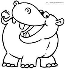 Small Picture Happy Hippo Wild animal coloring page Hippopotamus Coloring page