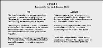 corporate social responsibility organization levels definition exhibit 1 arguments for and against csr