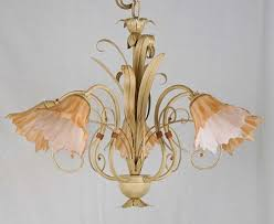 chandelier crystal glass ivory antique gold wrought iron metal made in italy art 574