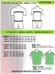 Sis Uniform Sizing Chart Smash It Sports