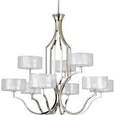 progress lighting caress collection 9 light polished nickel chandelier with shade
