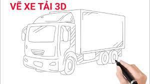 Vẽ xe tải, xe ô tô tải 3D đơn giản và đẹp | How to draw a truck easy -  YouTube
