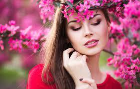 Wallpaper girl, flowers, beauty, spring ...