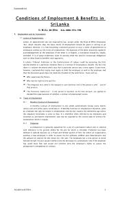 conditions of employment benefits by jayadeva de silva