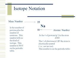 Isotope Notation Isotope Notation uses a symbol to convey ...