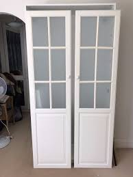 ikea white pax wardrobe with 2 frosted glass doors 5 shelves excellent condition