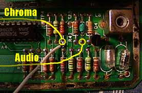 the atari 2600 vcs portables site how to hook up wires to these 2 points you can connect the wires to the other side of the board if you wish of course now you have the audio and chroma