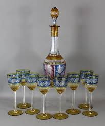 antique czech bohemian moser 3 color overlay cut glass wine decanter glasses