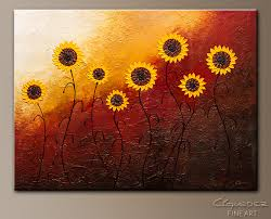 sunflower garden abstract art painting image by carmen guedez