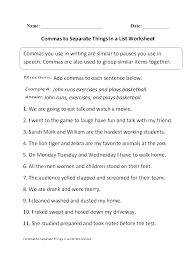 Comma Worksheets Under Fontanacountryinn Com