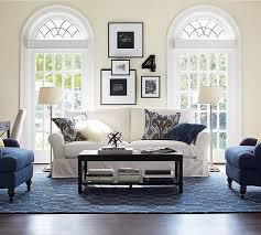 pottery barn accent chairs. Living Room Decorative Accessories With White Fabric Loveseat And Brushed Nickel Floor Lamps Also Blue Pottery Barn Accent Chairs A