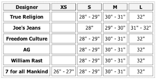 Actual Size Conversion Chart 7 For All Mankind 2019
