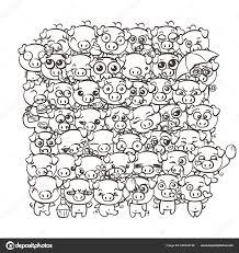 Sfondo Con I Porcellini Bambino Sveglio Maiali Di Kawaii Immagine