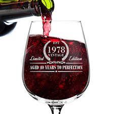 1978 vine edition birthday wine gl for men and women 40th anniversary 12 oz