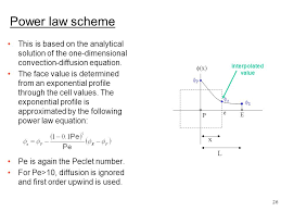 power law scheme this is based on the ytical solution of the one dimensional convection