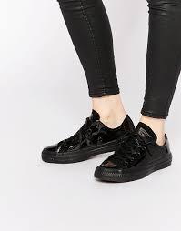 converse chuck taylor black patent shoes women
