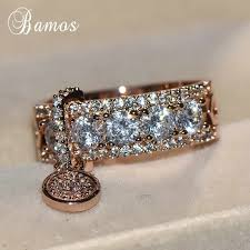 Bamos <b>Luxury White Zircon Engagement</b> Ring Vintage Rose Gold ...