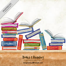 watercolor background with colorful books free vector