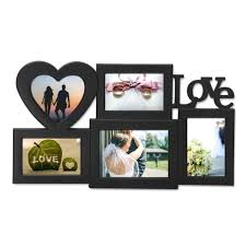 hanging picture frame collage 5 openings black love wall made to one photo hanging picture frame collage