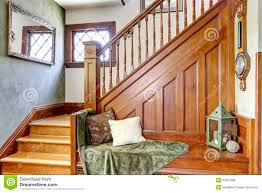 Old House Staircase Design Wooden Staircase With Bench In Old House Stock Photo Image
