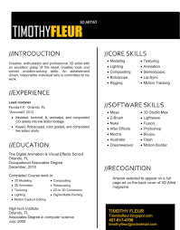 Resume For Vfx Job Resume For Study