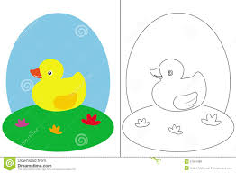 Coloring Page Book With A Small Duck Royalty Free Stock Photos ...