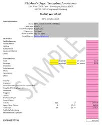 Budget Worksheets And Samples | Children's Organ Transplant Association
