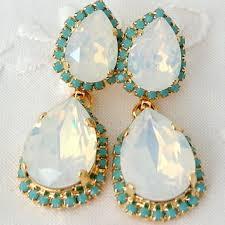 white opal and turquoise chandelier earrings bridal earrings 1