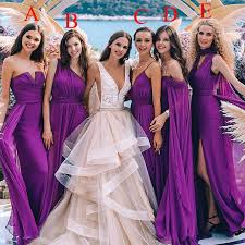 Purple Bridesmaid Dresses Mixed Style Chiffon Pleats Floor Length Maid Of Honor Wedding Guest Gown Custom Made Db061 Autumn Bridesmaid Dresses B2