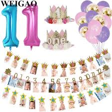 weigao baby shower photo frame banner first birthday decorations 1st baby boy girl my 1 one year party supplies gold pink blue malaysia