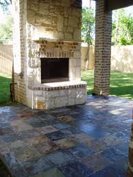 Wonderful Exterior Garden Decoration Design In Outdoor Patio Flooring Ideas  : Fetching Grey Slate Stone Mosaic